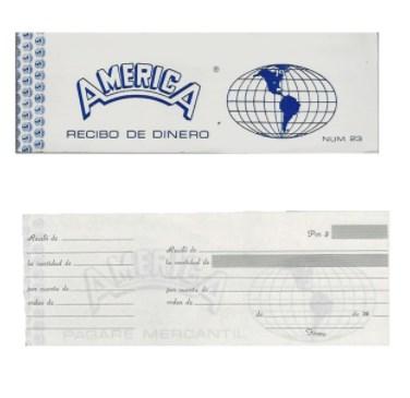 BLOCK RECIBO DE DINERO AMERICA C/TALON